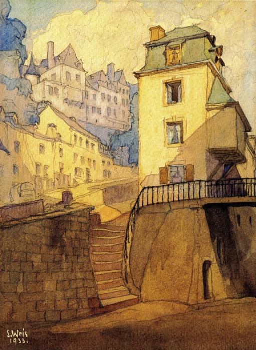 Le Grund en 1933. Aquarelle de Sosthène Weis (1872-1941).